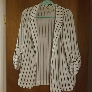 White/black striped blazer